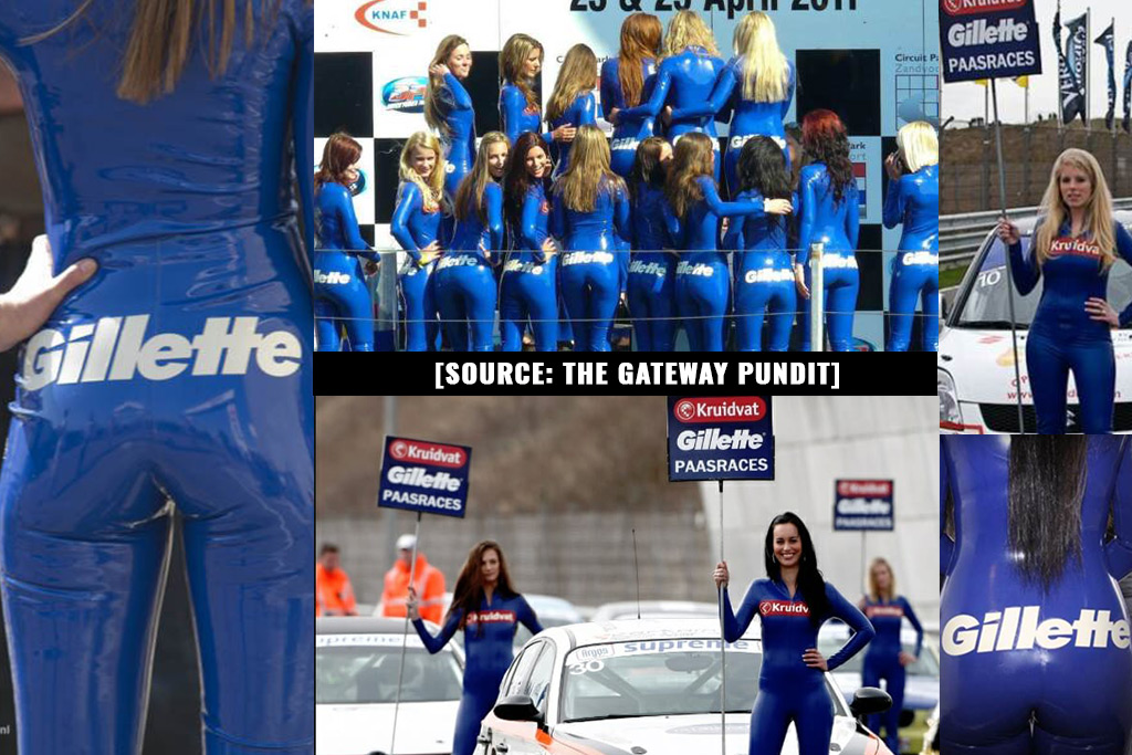 Gillette dresses women in skin tight clothing with corporate ...